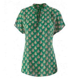 Cabi Stevie Green Floral Top